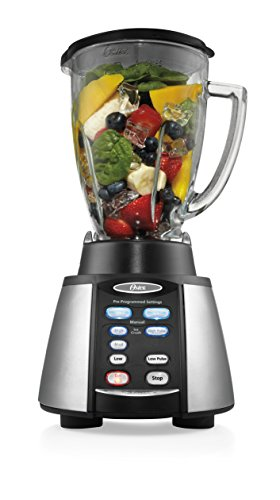 Oster Reverse Crush Counterforms Blender, with 6-Cup Glass Jar, 7-Speed Settings and Brushed Stainless Steel/Black Finish - BVCB07-Z00-NP0
