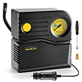 WindGallop Small Portable Air Compressor Tire Inflator with Pressure Gauge Car Tire Pump 12V DC Tire Compressor Electric Air Pump for Car Tires Bike Motorbike Tire Balls Other Inflatables (Yellow)