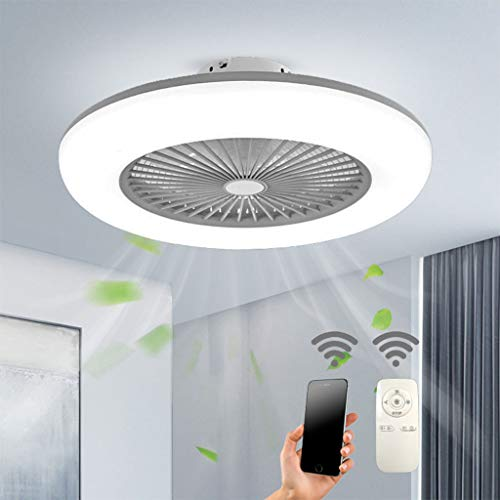 Deckenventilator mit Beleuchtung LED Fan Deckenleuchte Einstellbare 3 Windgeschwindigkeit Dimmbar mit APP und Fernbedienung 32W Moderne LED-Deckenleuchte für Schlafzimmer Wohnzimmer Esszimmer,Grau