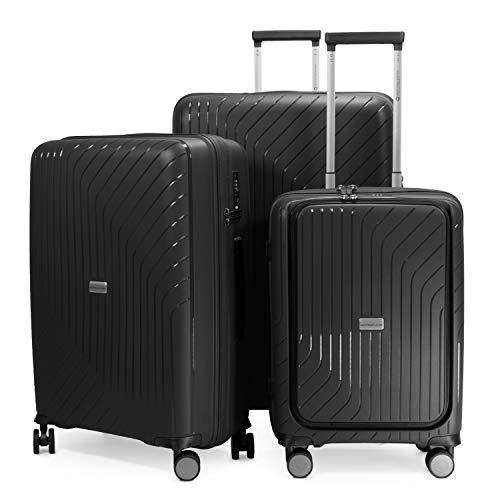 HAUPTSTADTKOFFER - TXL - Set di 3 Trolley Valigie rigidi - bagaglio a mano con compartimento per...