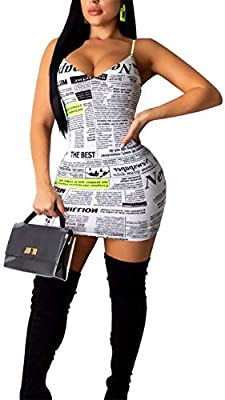 Material: Polyester. Soft and stretchy fabric.Thick and Good Quality; Feels good on skin, looks great on. Fit is great. Feature: Unique style, newspaper print midi dress, letter print short dress, sleeveless midi dress, elegant and sexy, bodycon part...