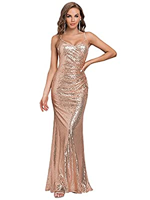 Features Deep V-Neck, front wrap, ruched on the waist, bodycon mermaid dress Sexy stunning sequins evening party dress makes you charming and attractive Perfect for eveing party, prom party, wedding, graduation party and other formal occasions High q...