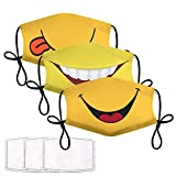 3Pcs Smiley Face Mask with 6 Filters Smile Face Cover for Adults Washable Reusable Kawaii Smiling Mouth Cover