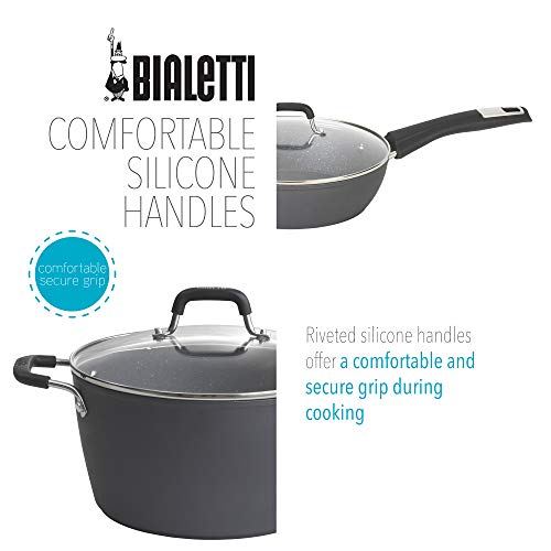 Product Image 5: Bialetti Textured Nonstick 10-Piece Oven-Safe Cookware Set, Gray Impact