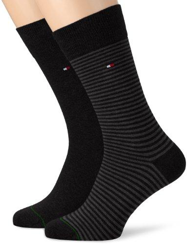 Tommy Hilfiger Th Men Small Stripe Sock 2P Calzini, Nero (Schwarz (Black), 39-42 Uomo