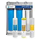 Express Water Heavy Metal Whole House Water Filter  3 Stage Home Water Filtration System  Sediment, KDF, Carbon Filters  includes Pressure Gauges, Easy Release, and 1 Inch Connections