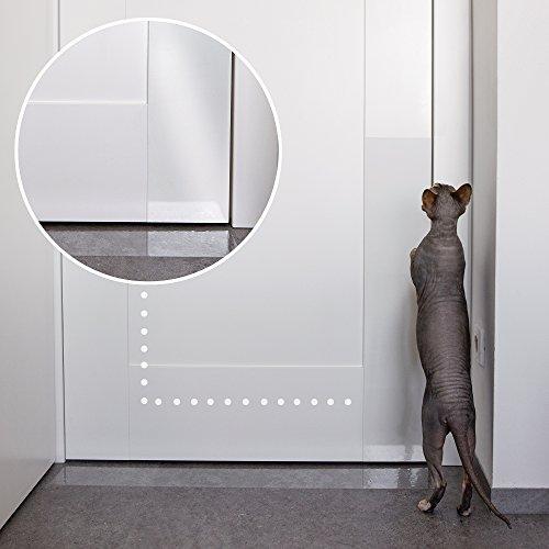 PROTECTO Protector contra Arañazos de Mascotas + Cuchilla para Corte a Medida - Protección Puertas de Madera, Paredes y Muebles para Perros y Gatos Anti-arañazos y Repelente con Trasera Súper Adhesiva