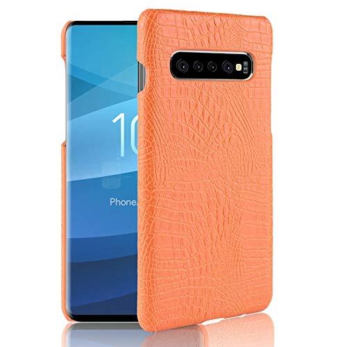 Samsung Galaxy ケース サムスンギャラクシーS10 5G(6.7インチ)のための高級クラシックワニ皮パターン PUレザーアンチスクラッチPC保護ハードケースカバー カバー (色 : オレンジ)