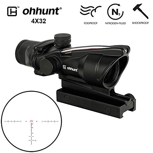 ohhunt 4x32 Hunting RifleScopes Red or Green Illuminated Horseshore Glass Etched Reticle Real Fiber Optics Tactical Optical Sights Scope (Red Illuminated Horseshore Reticle)