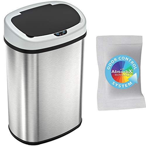 iTouchless 13 Gallon Oval Sensor Touchless Trash Can with Odor Control System, Automatic Stainless Steel Space-Saving Kitchen Garbage Bin for Home and Office