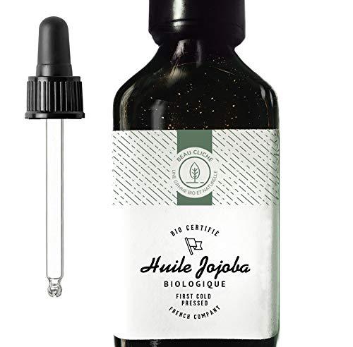 100ml huile de Jojoba Bio, Pressée à froid, Pure - Soin 100% Naturel pour Peau, Cheveux, Barbe - Bouteille en verre - Embouteillée en France