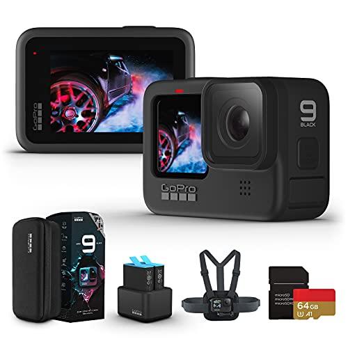 【国内正規品】GoPro HERO9 Black アクションカメラ ゴープロ 水中カメラ 人気アクションカム (GoPro HERO9Black +64GB認定SDカード+デュアルバッテリーチャージャー+予備バッテリ+Chesty)