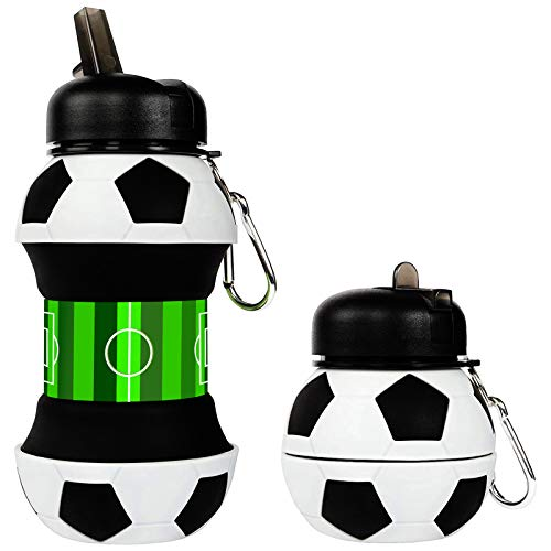 Bottiglia di Acqua Pieghevole, Borraccia Pieghevole per Scuola Borraccia in Silicone BPA Free per Sport per Viaggi Palestra Campeggio Bottiglie per Bere Personalizzato, 550ML