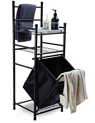 Badregal mit Handtuchhalter und Wäschekorb Abnehmbaren ca.36L Standregal Offenes aus Metall mit Wäschetruhe Lagerregal Eck mit 2 Ablage String Draht Badaccessoires für Badezimmer Toilette Schwarz