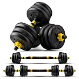 zybeauty Fitness Dumbbells Adjustable Weight Set to 44Lbs, Dumbbells to Barbells with Connecting Road, Non-Slip Handles Home Gym Equipment for Men and Women Workout Exercise Training