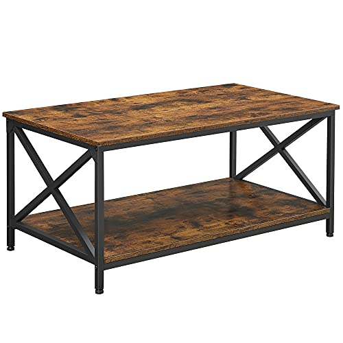 VASAGLE Table basse, Table de salon, avec cadre en acier en forme de X et étagère de rangement, 100 x 55 x 45 cm, style industriel campagnard, Marron Rustique et Noir LCT200B01