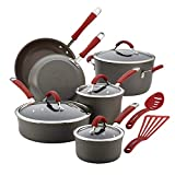 Rachael Ray Cucina Hard-Anodized Aluminum Nonstick Cookware Set, 12-Piece, Gray, Cranberry Red Handles (Renewed)