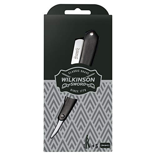 Wilkinson Sword - Rasoio Tradizionale A Mano Libera (Da Barbiere - Pack Con Rasoio Da Uomo + 5 Lame Di Ricarica - 100 Gr