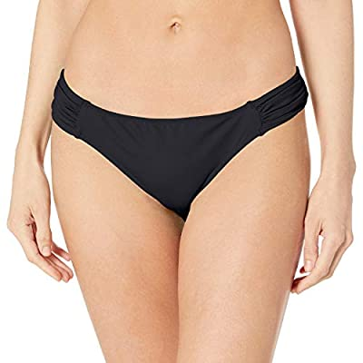 Full back coverage Low rise Lined Stretchy fabric for a comfortable fit Ruched side waistbands