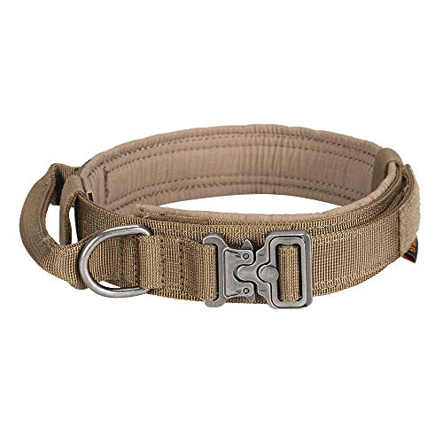 EXCELLENT ELITE SPANKER Tactical Dog Collar Nylon Adjustable K9 Collar Military Dog Collar Heavy Duty Metal Buckle with Handle(COB-L)