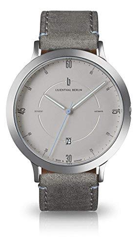 Lilienthal Berlin Zeitgeist Automatik Armbanduhr (Gehäuse: Silber/Zifferblatt: Silber/Armband: Leder grau)