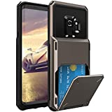 ELOVEN Wallet Card Series for Galaxy S9 Case with Card Slot Hidden Credit Card ID Cover Shock Absorption Heavy Duty Drop Protection Rugged Bumper Protective Cover for Samsung Galaxy S9,Gun Metal