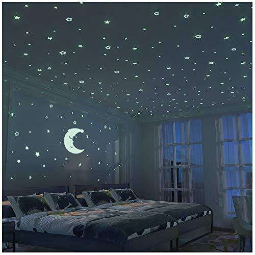Leuchtkraft Mond und Sternenhimmel Aufkleber XL Set - 300 Sticker für Sternenhimmel leuchtend im Dunkeln - fluoreszierende Wandsticker Deko fürs Kinderzimmer