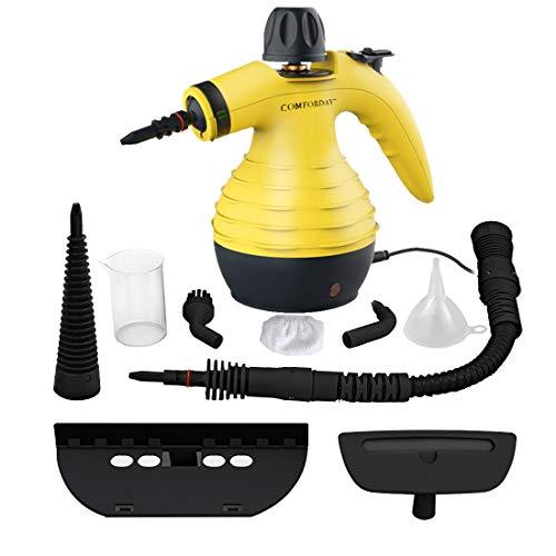 Multifunktionaler Comforday- Dampfreiniger als Handgerät mit 9 Zubehörteilen für Fleckenentfernung, Bedampfung, Teppiche, Vorhänge, Autositze, Küchenoberflächen & vieles mehr