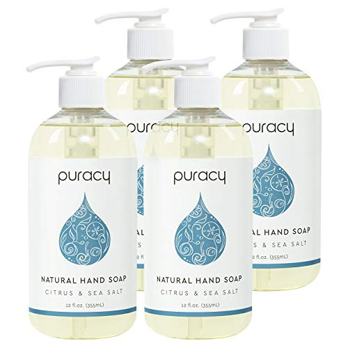 Puracy Natural Liquid Hand Soap, Citrus & Sea Salt, Vegan Gel Hand Wash, 12 Ounce (4-Pack)