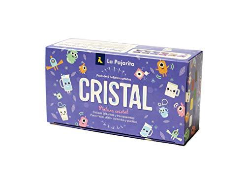 La Pajarita 999994C, Kit Pintura Cristal al Agua + Pincel, 6