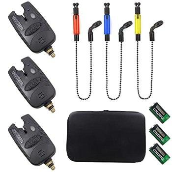 Croch Lot de 3 détecteurs de touche Swinger avec aiguilles lumineuses et bip idéal pour la pêche à la carpe et la pêche de nuit (A)
