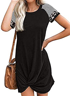 Material: 95%Polyester+5%Spandex, soft quality fabric, lightweight, very comfy t shirt dress, women summer fashion casual dress Fetures: Womens tshirt dress designed with a soft round neckline, short sleeves with striped print and leopard print, fron...