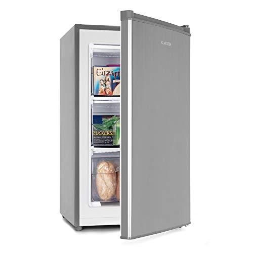 Klarstein Garfield Eco L - Congelatore, 60 Litri di Volume, Classe di Efficienza Energetica E, 3 Cassetti, Piedini Regolabili in Altezza, 41 dB, Frontale in Acciaio Spazzolato, Grigio