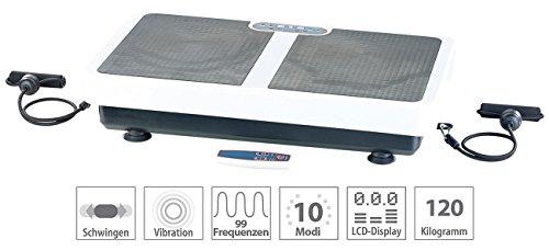 PEARL Vibrationsboard: Extrabreite Vibrationsplatte WBV-199.OE mit Expandern, 200 Watt (Sportgerät Vibrationsplatte)