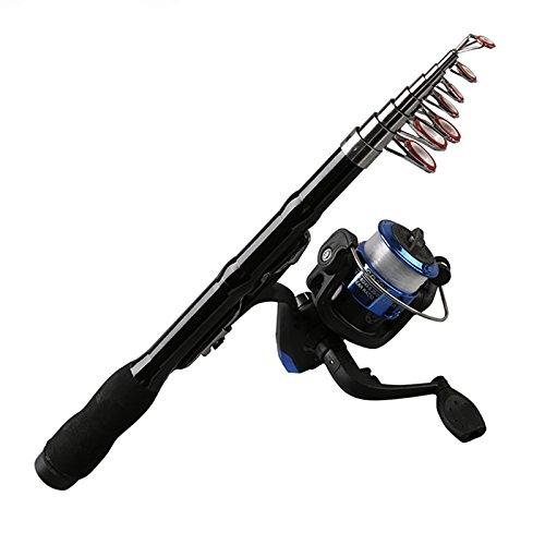 Gaoominy Rod telescopica Portatile da Pesca Spinning Carbonio Pesce Mano Attrezzatura da Pesca Sea Rod Ocean Canna da Pesca 1.0M