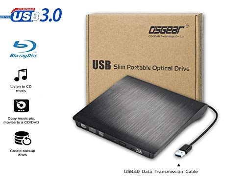 OSGEAR USB 3.0 Type C External 6x Blu-Ray Combo BD ROM Reader M-Disc CD DVD RW Drive Mac PC Laptop Desktop Tray Loading Portable Enclosure Housing Box Caddy Case