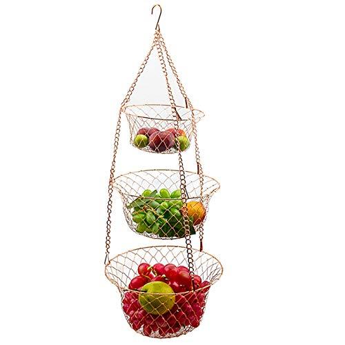 Yaosh 3 Stöckiger Obstkorb Zum Aufhängen Hängekorb, Pflanzen Gemüse Obstkorb Hängend Hänge Regal Hänge Küchenampel Für Mehr Platz Auf Ihrer Arbeitsplatte Obst Hängekorb Küche Obstschale,Bronze