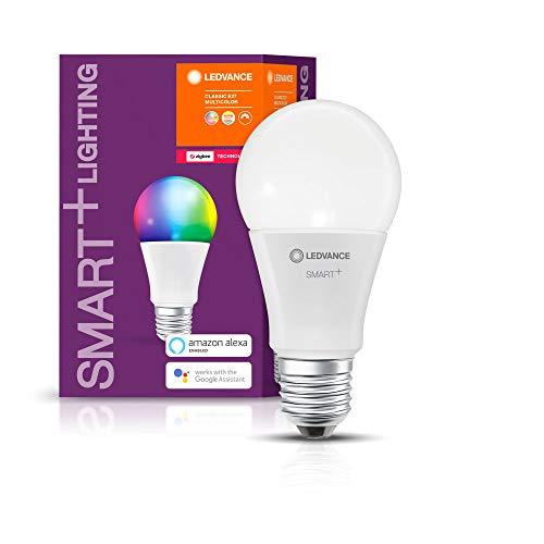 LEDVANCE Smart+ LED, ZigBee Lampe mit E27 Sockel, warmweiß bis tageslicht, Farbwechsel RGB, dimmbar, Direkt kompatibel mit Echo Plus und Echo Show (2. Gen.), Kompatibel mit Philips Hue Bridge