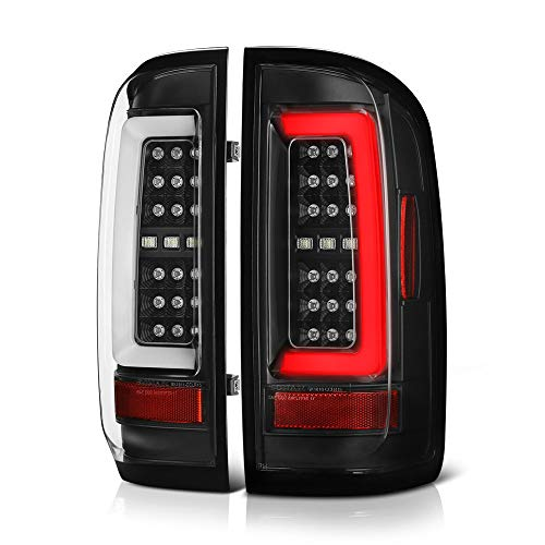 [For 2015-2021 Chevy Colorado Pickup Truck] Black Housing Premium OLED Neon Tube Full-LED Tail Light Lamp Assembly, Driver & Passenger Side
