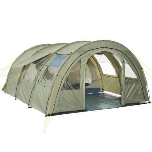 CampFeuer Tente Tunnel Multi pour 4 Personnes   Immense Vestibule, 5000 mm de Colonne d'eau   avec Tapis de Sol et paroi Frontale réglable   Tente de Camping Tente familiale (Vert Olive)