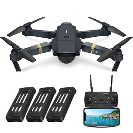 EACHINE E58, Drone with Camera for Adults, Drone for Children, Drone for Beginners with Altitude Hold, WIFI FPV Quadcopter With 2MP 720P Wide Angle Camera Live Video Mobile APP Control (3 batteries)