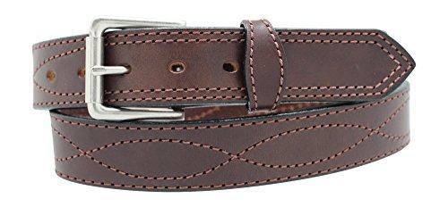 Men's Harness Leather Work Belt – 1 1/2″ w/Decorative Figure 8 Stitching