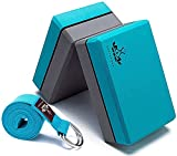 Heathyoga Yoga Blocks 2 Pack with Strap, High Density EVA Foam Yoga Block and Yoga Strap Set to...