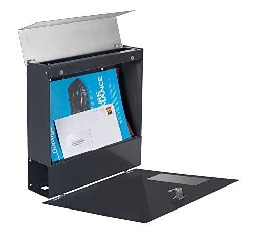 Frabox® Design Briefkasten NAMUR anthrazitgrau RAL 7016 mit Zeitungsfach & Namensgravur - 2