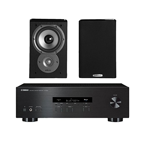Yamaha R-S202 Stereo Receiver Bundle with Polk TSi100 2-Way Bookshelf Speakers with 5-1/4' Driver - (Pair) Black