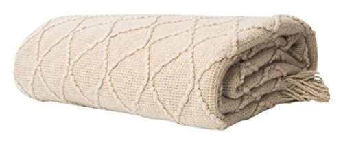 "Battilo Knit Diamond Patterned Throw Blanket, 50"" W by 60"" L, Beige"