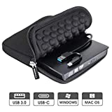 ROOFULL USB 3.0 & USB-C External CD DVD Drive, Premium Portable CD/DVD +/-RW Optical Drive Burner Writer with Protective Storage Carrying Case for MacBook Pro/Air, Mac OS and Windows 10 Laptop PC