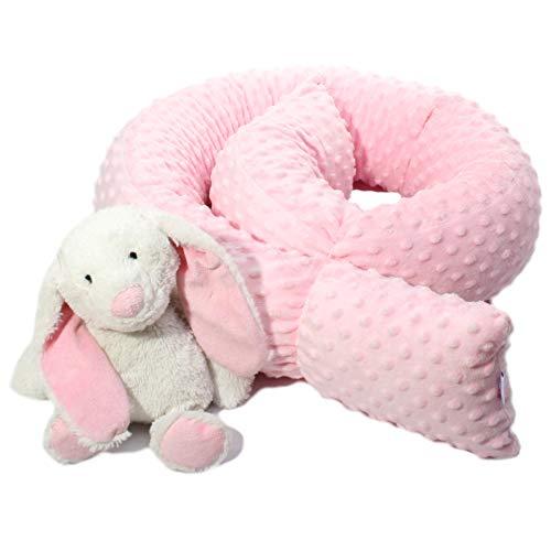 Bettschlange Bettrolle Nestchen Nestchenschlange Nackenrolle Babynest Bettumrandung Zugluftstopper Kissenrolle Babynestchen Minky 140 180 210 250 300 cm Hersteller (300 cm, Pink)