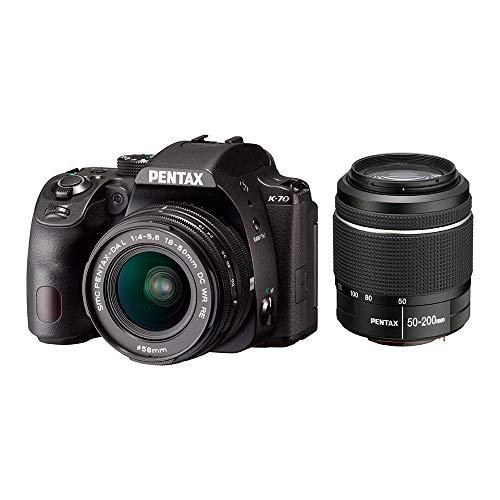 PENTAX デジタル一眼レフカメラ K-70 DAL18-50mm + DAL50-200mm ダブルズームレンズキット ブラック 海外モデル 防塵 防滴 -10℃耐寒 アウトドア 日本語取説あり 16296