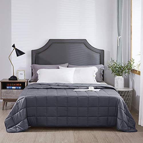 Queen Size Weighted Blanket for Adults - 20 lbs 80x86 (Dark Grey) - Provides Medium Pressure - 400 Thread Count Premium Cotton - Perfect for Queen Full or Double Beds - Grey 80x86